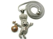 """ICED OUT """"DOUGHBOY"""" PENDANT WITH 4mm 36"""" FRANCO CHAIN."""
