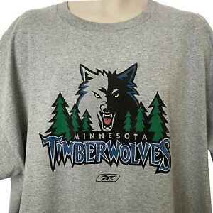 Reebok Minnesota Timberwolves Mens 2XL T Shirt Gray NBA Basketball