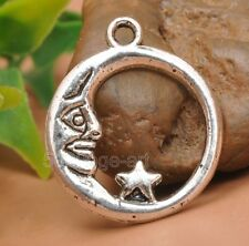20pcs Tibetan silver circle moon charm star pendant Jewelry Findings 21mm A3248