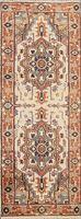 "IVORY Heriz Serapi Geometric Oriental Runner Rug Hand-knotted 2' 6""x7' 7"" Carpet"
