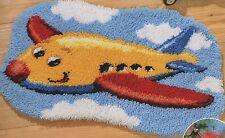 Knüpfpackung Knüpfen Teppich 70x50 cm Flugzeug Flieger Urlaub Wolken Himmel
