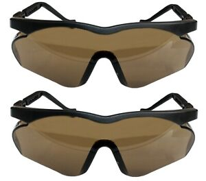 UVEX 9197 2x Pair SAFETY GLASSES UV Protection Anti-Fog Adjustable BLACK BROWN