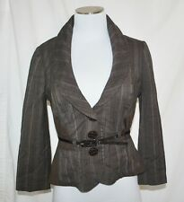 CHIC VTG Brown Striped Cropped Stretch Belted Fitted Blazer Jacket Blouse M