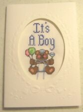 """Finished, Completed Cross Stitch Card - """"It's a Boy!"""""""