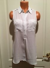 WHITE HOUSE BLACK MARKET Sheer Utility Tunic Top Size Ps Sp Whbm NWOT