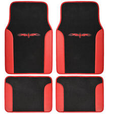 Red/ Black Full Car Carpet Floor Mats Set Extra Thick Carpet & Backing - 4pc