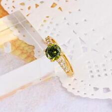 18k  Gold Filled Elegant Fashion Green Stone Women's Ring - Size 8