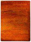 Gabbeh moderne Tapis Pont couleur unie orange Touffeté à la main laine