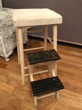Vintage Wood Country Kitchen Library Bed Fold Out Step Stool Chair White