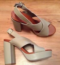 New👠Next 👠Size 8 / 42 Platform Slingback Sandals Grey Upper Block Heel Shoes