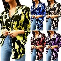 Women's Floral V Neck Casual Blouse Long Sleeve Loose Shirt Tunic Tops Plus Size
