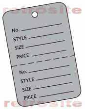 200 Small Price Hang Coupon Tags Without Strings Grey 2 Part Perforated Unstrung