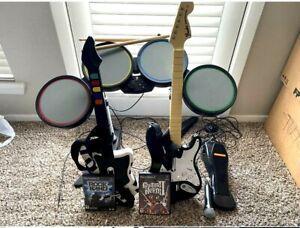 Rock Band PlayStation Bundle PS2 PS3 PS4  2 Games Guitars Mic Drum Pedal