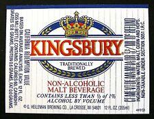 Heileman KINGSBURY NON ALCOHOLIC  MALT BEVERAGE foil beer label  WI 12oz #4972