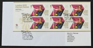 GB Royal Mail stamped envelope - London 2012 Olympic Games sheet Andy Murray