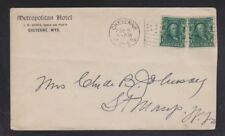 USA 1909 METROPOLITAN HOTEL COVER CHEYENNE WYOMING TO ST MARY'S WEST VIRGINIA