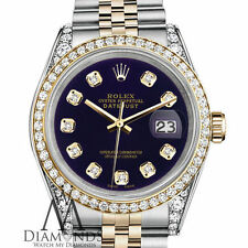 Unisex Rolex Stainless Steel and Gold 36mm Datejust Watch Purple Diamond Dial