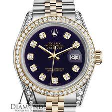 Ladies Rolex Stainless Steel & Gold 26mm Datejust Watch Purple Diamond Dial