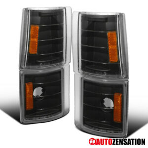 For GMC 94-98 C/K C10 Sierra Black Corner Turn Signal Lights Lamps+Amber