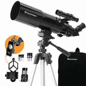 Celestron - 80mm Travel Scope - Portable Refractor Telescope - Fully-Coated