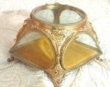 Rare DIAMOND Velvet French Antique Brass Beveled Glass Display Box Trin case vtg