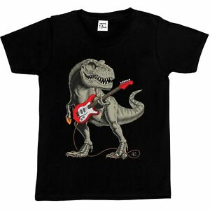 1Tee Kids Boys T-rex Dinosaur playing Guitar  T-Shirt
