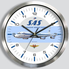 SAS SCANDINAVIAN AIRLINES DOUGLAS DC-8 WALL CLOCK 1960s 1970s metal