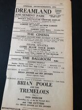 69-5 Ephemera 1963 Advert Margate Dreamland Brian Poole Don Spencer Cutters