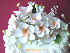 Sugar Gum Paste Ivory White & Peach Hawaiian Plumeria Cake Decorating Flowers