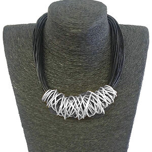 Silver chunky spiral wrap black leather cord choker necklace fashion jewellery