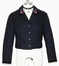 BLACK ~ Boiled WOOL German Women WARM Short WINTER Dress JACKET Over Coat 10 M