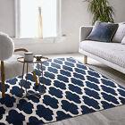 Floor Rug Navy Blue Handmade Cotton Moroccan Trellis Modern Carpet 80x150cm