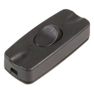 2A Inline Rocker Switch For Lamp Black With Screw Fittings and Terminals