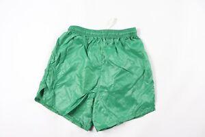 NOS Vintage 90s Youth Medium Blank Nylon Running Jogging Soccer Shorts Green USA