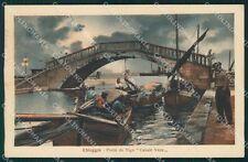 Venezia Chioggia Ponte Vigo Barche Chiaro di Luna cartolina QT4019