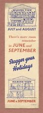 """""""Stagger Your Holidays""""   bookmark,    Marine View Hotel     British     JX195"""