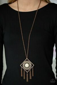 Sandstone Solstice Copper Necklace/Earring Set Paparazzi New With Tags