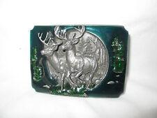 Vintage 1990 Bergamot 2 Buck Deer Green & Blue Enamel Pewter Belt Buckle
