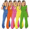 Women Fashion Ruffle Backless Zipper Bodycon Long Bell-bottom Jumpsuit