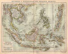 Ostindien Hinterindien Indischer Archipel Indien   historische Landkarte 1885