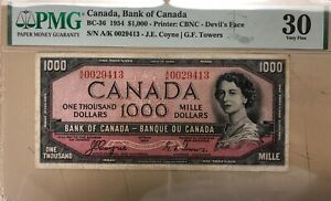1954 Bank of Canada $1000 Devil's Face Banknote PMG VF-30 Cat#BC-36