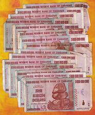 5 Billion Zimbabwe Dollars x 15 Banknotes Bundle AA AB 2008 *Damaged Condition*