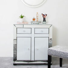Arctic White Mirror Glass 2 Drawer 2 Door Cabinet Sideboard Storage Cupboard