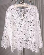 NEW ~ Plus Size 3X White Lace Knit Crochet  Cardigan Short Sweater