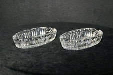 Pair of Small Very Clear Lead Crystal Oval Ashtrays Cut with Flower in Bottom