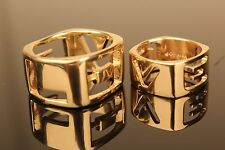 "14kt Yellow Gold Men's and Women's ""LOVE"" Set Squared Custom Rings"