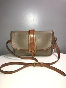 Vintage Dooney&Bourke Khaki Brown Trim Leather Crossbody Shoulder Bag