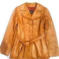 Vintage 70s Leather Jacket Womens Small Belted Long Trench Coat Brown