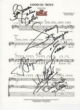 The Dukes of Hazzard SIGNED Good Ol' Boys theme sheet music COA Cletus Cooter +3