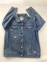 Disney Ariel Blue Denim Jacket Girls Size L Embroidered Classic Blue Jean Jacket